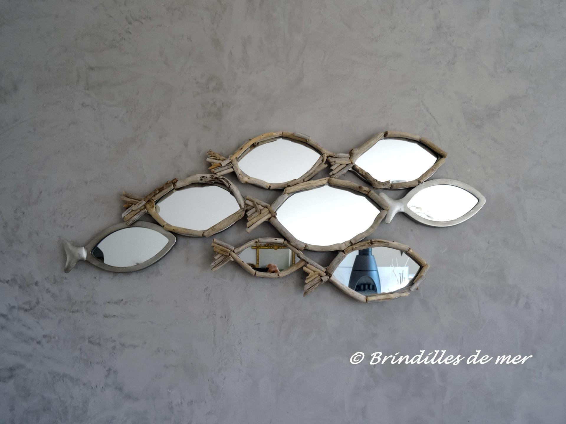 Miroirs banc de poisson en m tal verre et bois flott for Miroir forme maison