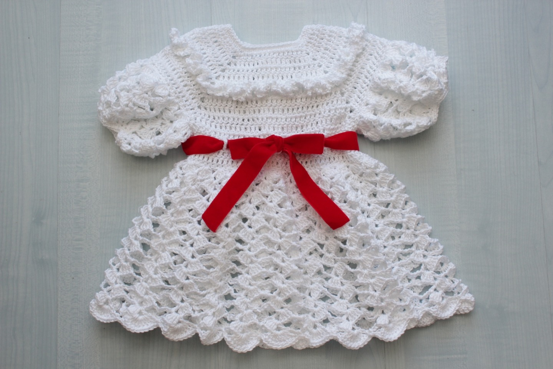 Robe Bébé Crochet En Coton Blanc 1218 Mois
