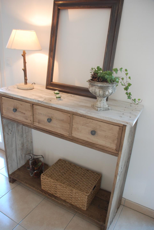 Console en bois de palette style shabby chic meubles par atelierquatrecoeurs - Meuble style shabby ...