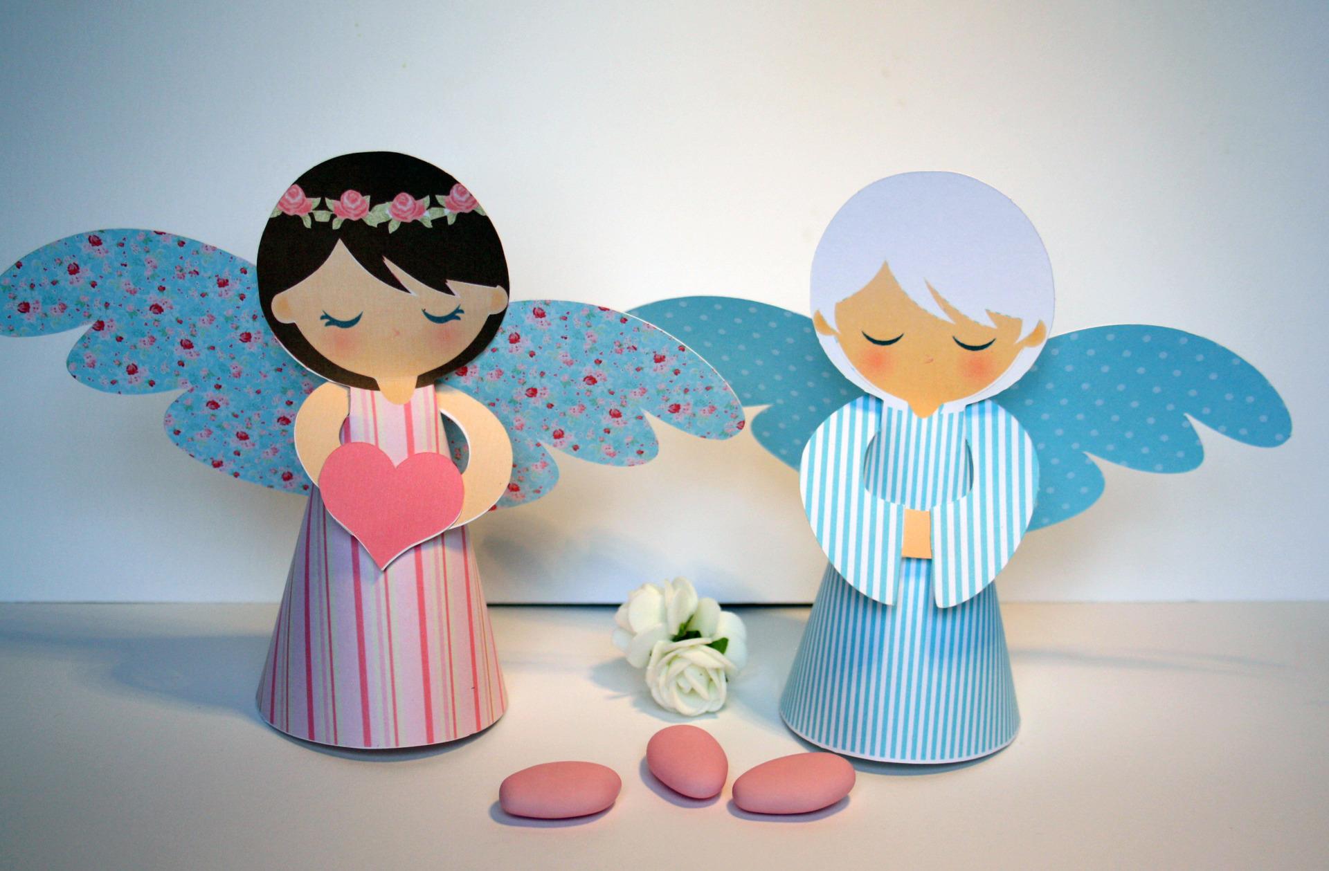 2 anges en papier carton 3d pour d coration de table de for Accessoire de decoration pour maison