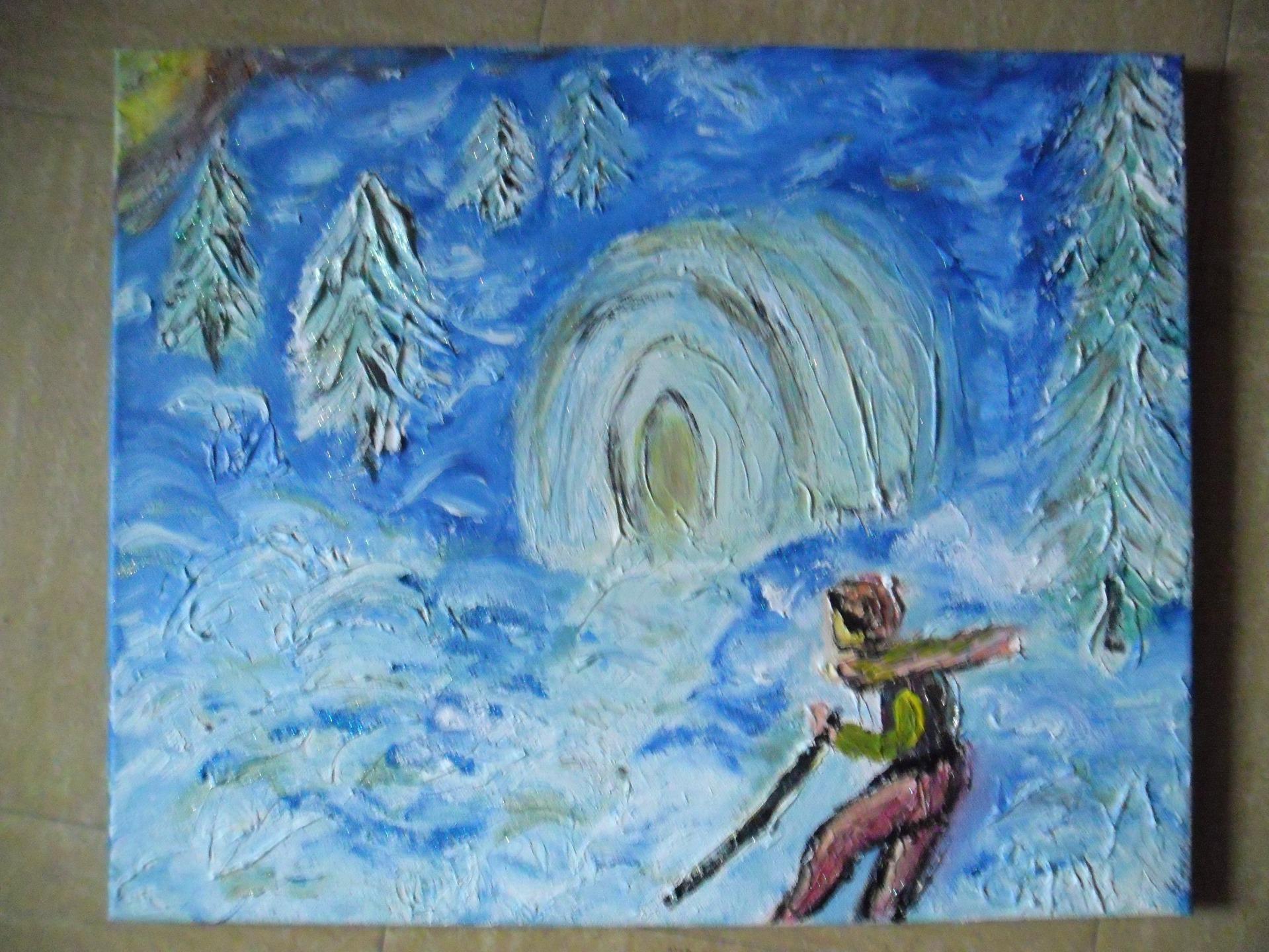 peinture paysage d 39 hiver tableau peinture sur toile acrylique art contemporain. Black Bedroom Furniture Sets. Home Design Ideas