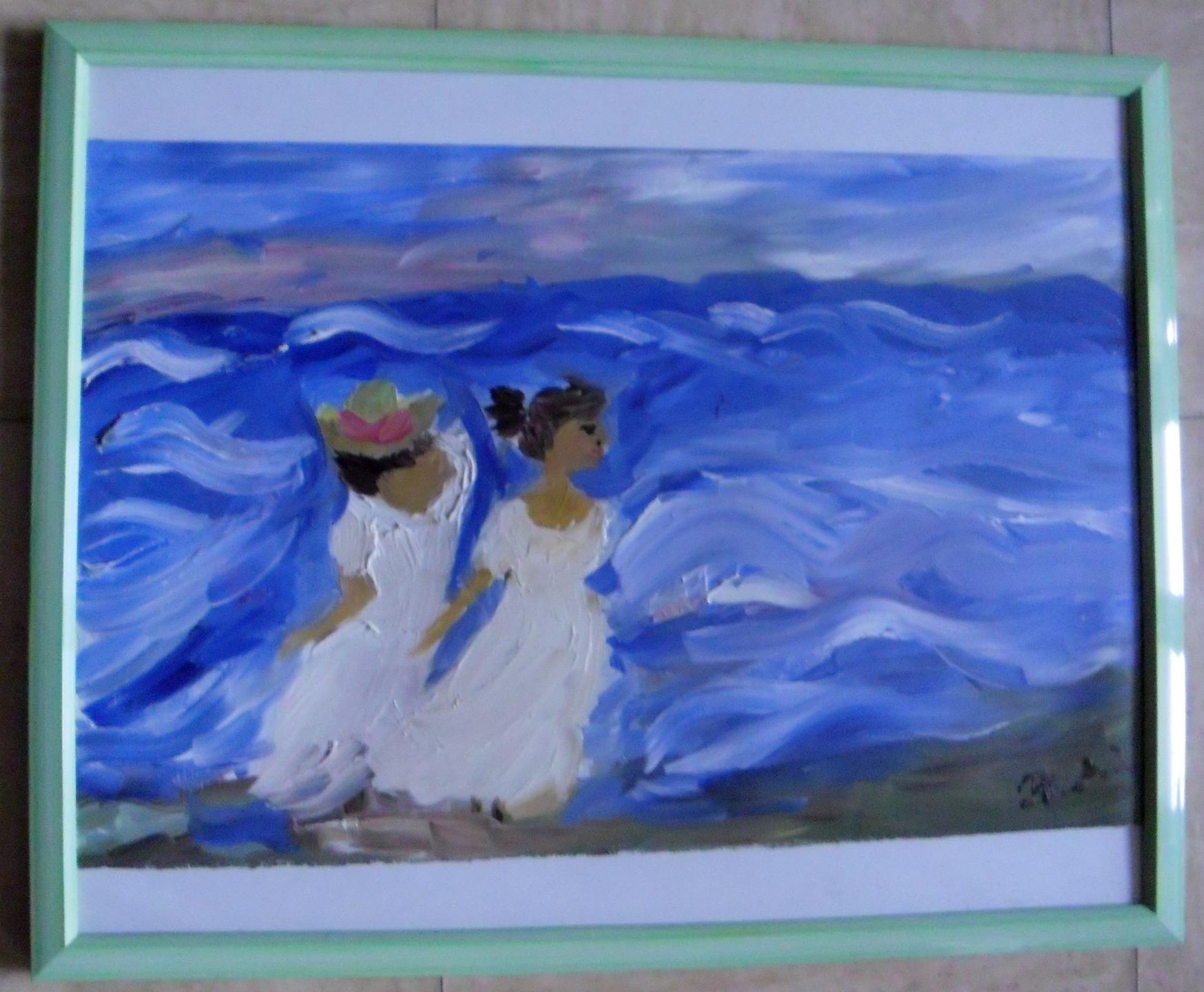 peinture deux filles sur la plage tableaux de peinture l 39. Black Bedroom Furniture Sets. Home Design Ideas