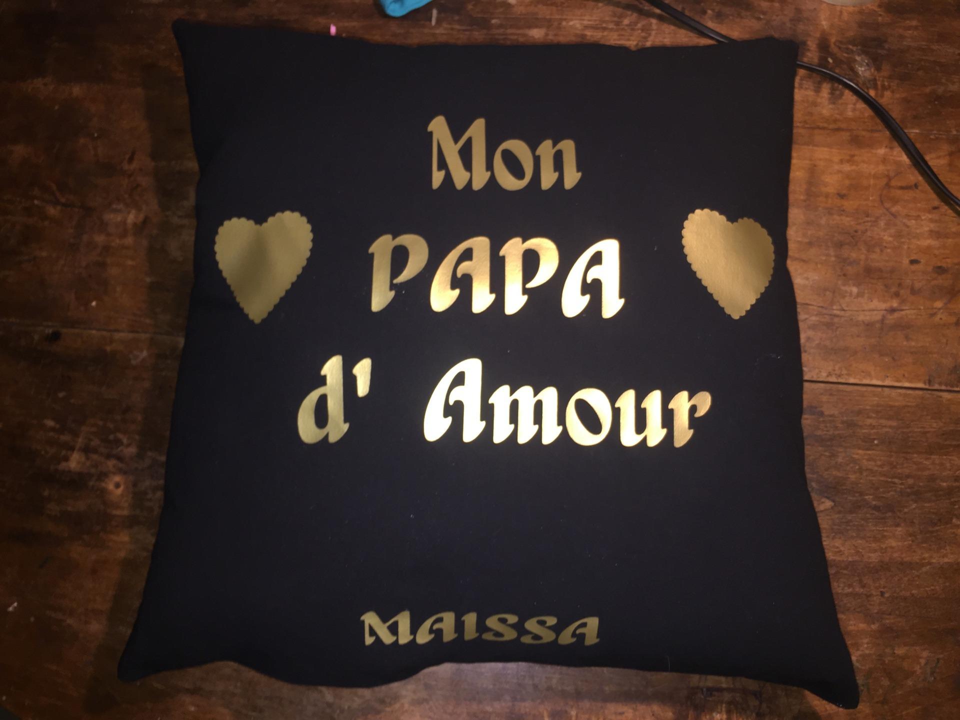 Coussin Noir Et Doré Mon Papa Damour