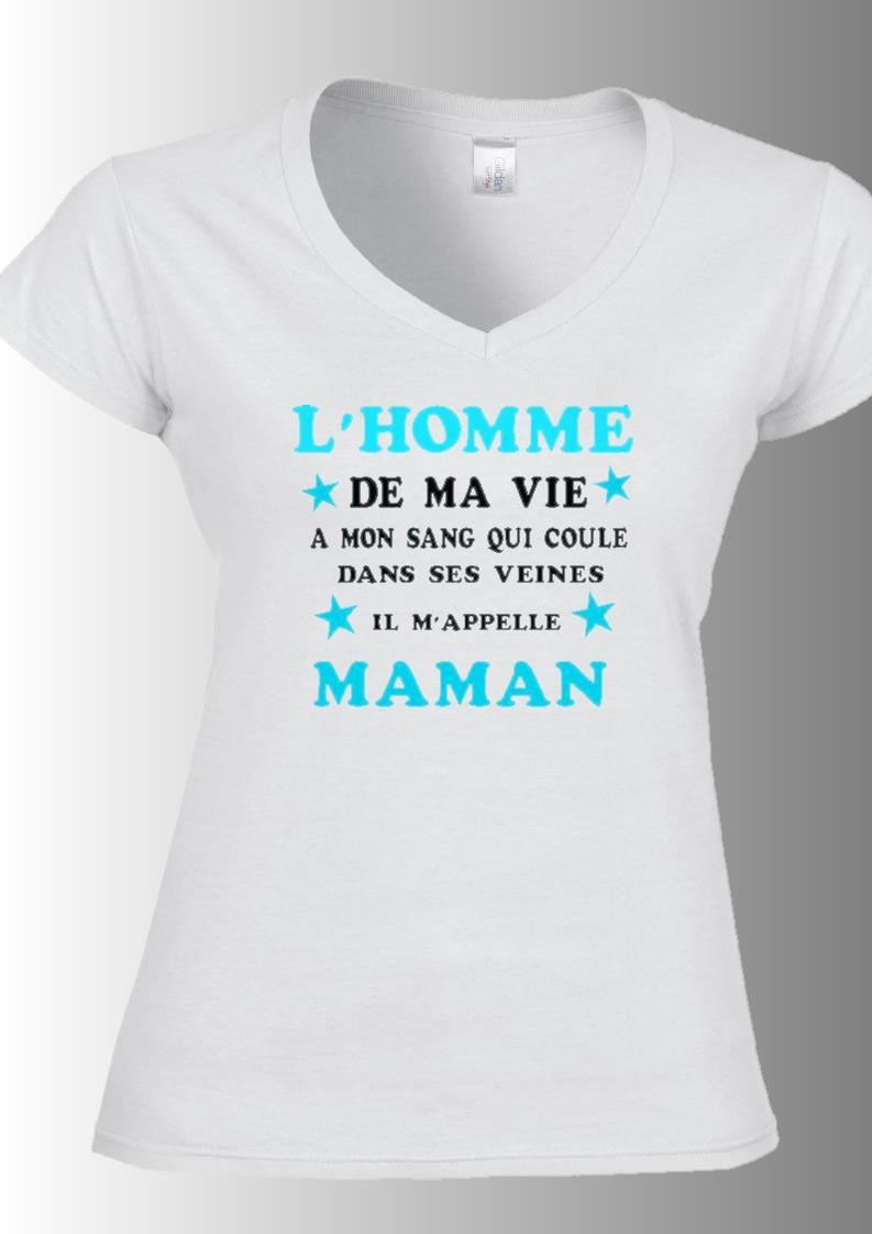 """Tee-shirt col v imprimé """"l'homme de ma vie a mon sang qui coule dans ses veines..."""" : mode-femme ..."""
