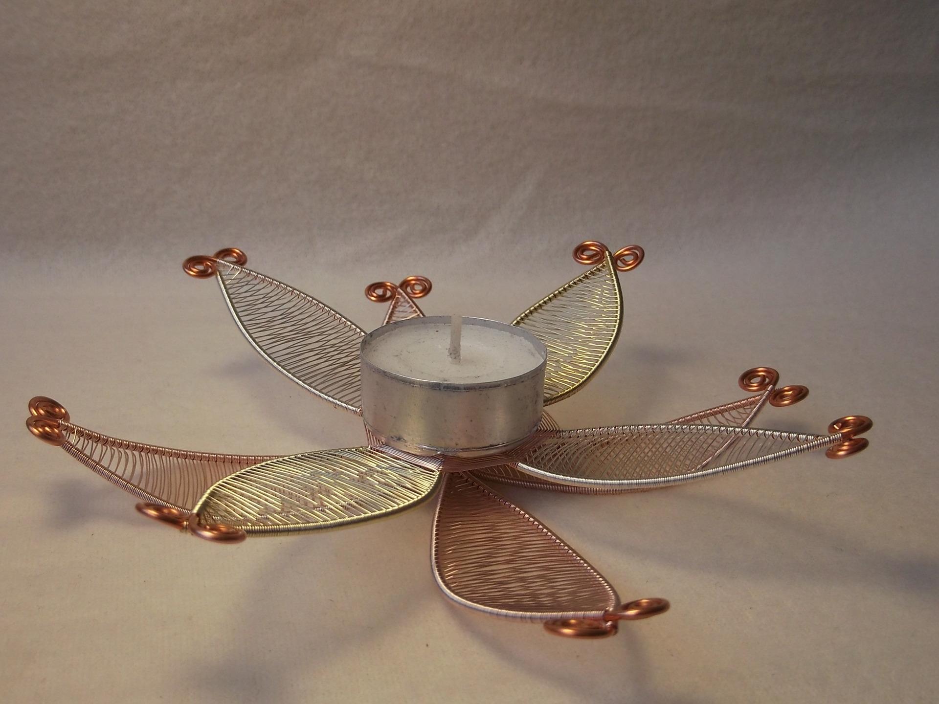 bougeoir fleur lotus en cuivre collection 2017 fait main maison et deco accessoires par steffil. Black Bedroom Furniture Sets. Home Design Ideas