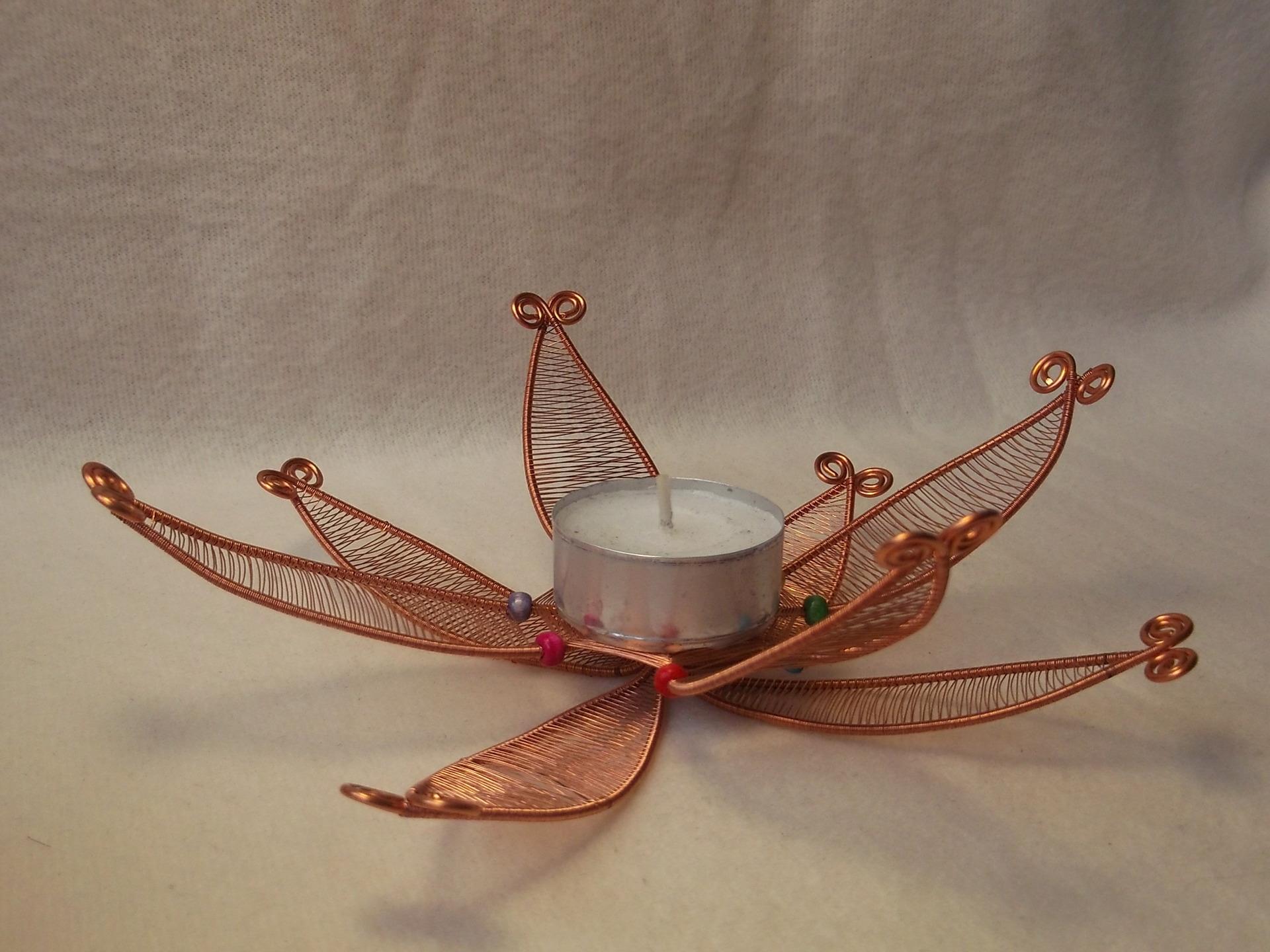 bougeoir fleur en cuivre collection 100 r cup fait main maison et deco accessoires par steffil. Black Bedroom Furniture Sets. Home Design Ideas