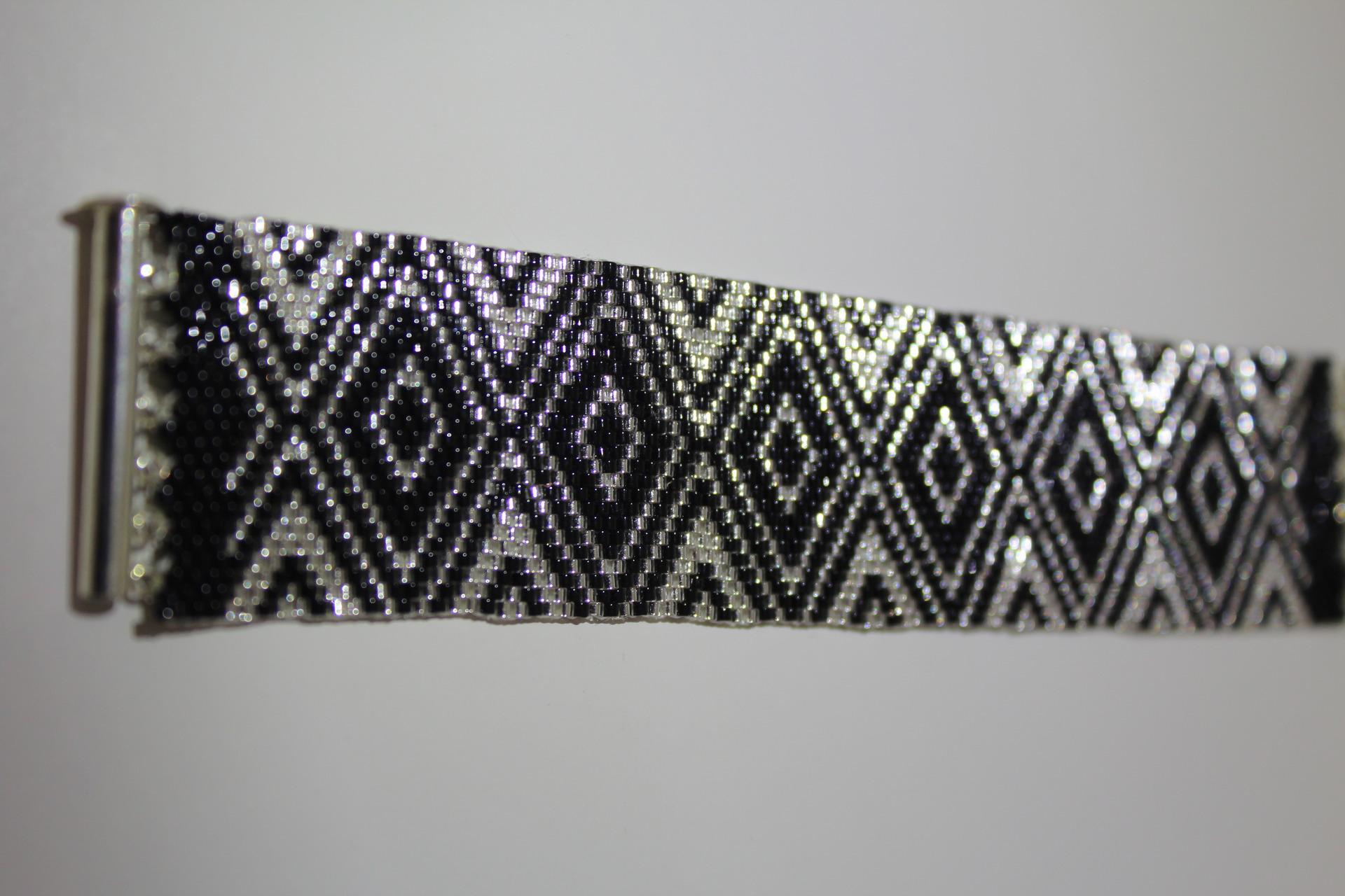 Bracelet Manchette Perles De Rocailles Miyuki Tissage Peyote Motif Geometrique Bracelet Par Pegase51